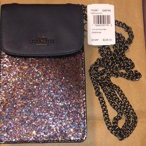100% Authentic glitter/navy phone crossbody